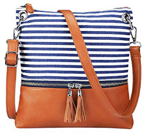 S-ZONE Canvas PU Leather Crossbody Bag with Tassel Satchel Purse for Women, blue