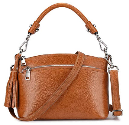 S-ZONE Small Genuine Leather Handbags for Women Shoulder Bag Purse, brown