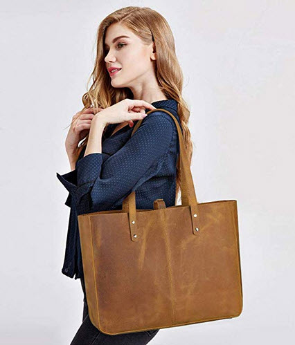 S-ZONE Vintage Genuine Leather Shoulder Bag for Women Tote Purse with Removable Pouch vintage brown