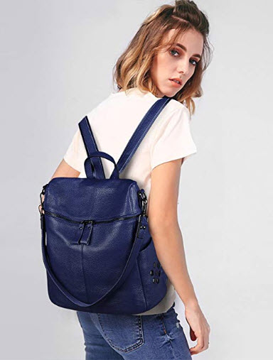 S-ZONE Women Genuine Leather Backpack Casual Shoulder Bag Purse Medium blue