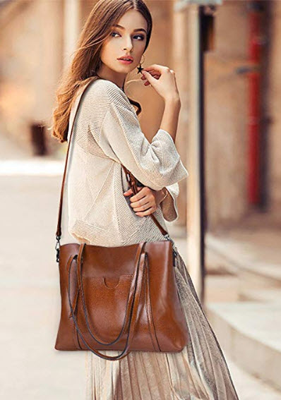 S-ZONE Women Genuine Leather Top Handle Satchel Daily Work Tote Shoulder Bag Large Capacity, brown
