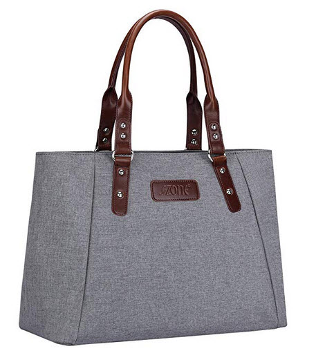 S-ZONE Women's Handbags Lightweight Large Tote Casual Work Bag Shoulder Bag grey