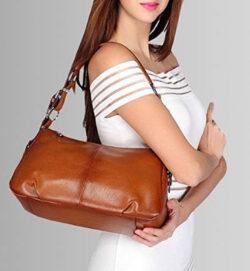 S-ZONE Womens Hobo Genuine Leather Shoulder Bag Top-handle Handbag, brown