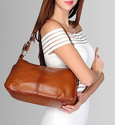 S-ZONE Womens Hobo Genuine Leather Shoulder Bag Top-handle Handbag, brown