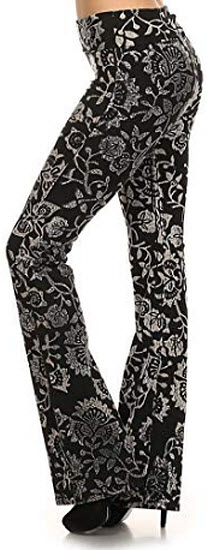 T Party Womens Printed, High Waisted, Full Length, Bell Bottom Pants., black