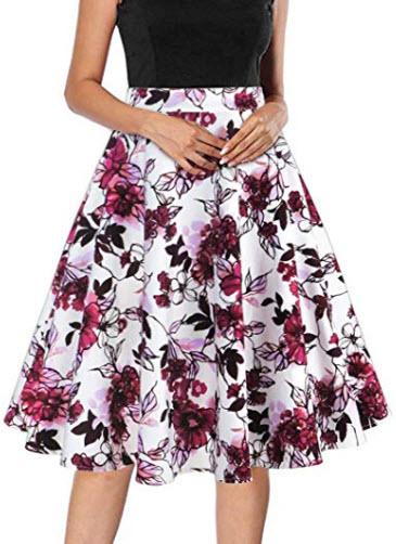 Tailloday 1950's Vintage Full Circle Pleated Floral A Line Midi Skirt, multi-7