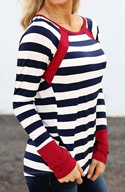 TAKEYAL Womens Long Sleeve Striped T Shirt Casual Crew Neck Loose Blouses Raglan Tees red