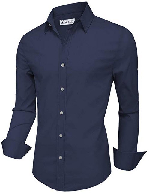 TAM WARE Mens Casual Slim Fit Basic Dress Shirts navy