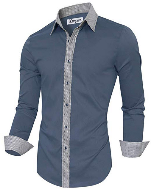 TAM WARE Mens Casual Slim Fit Contrast Lining Button Down Dress Shirts indieblue