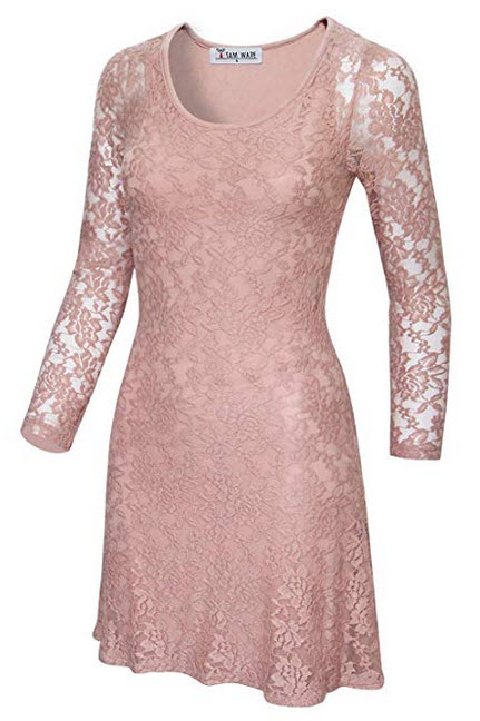 TAM Ware Women Stylish Floral Lace Long Sleeve Scoop Neck Flare Dress indipink