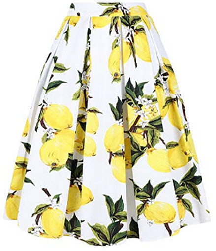 Tandisk Women's Vintage A-line Printed Pleated Flared Midi Skirts with Pockets, lemon flower