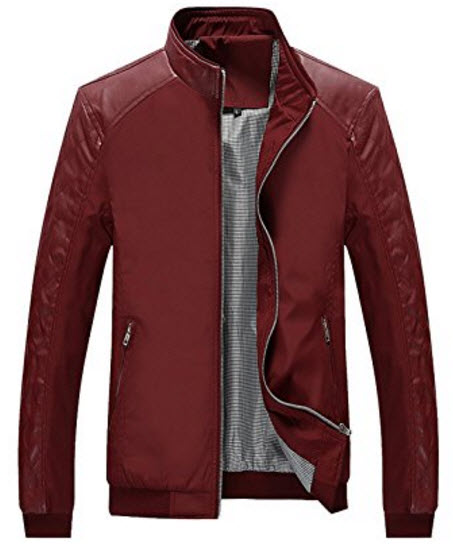 Tanming Men's Color Block Slim Leather Casual Jacket.