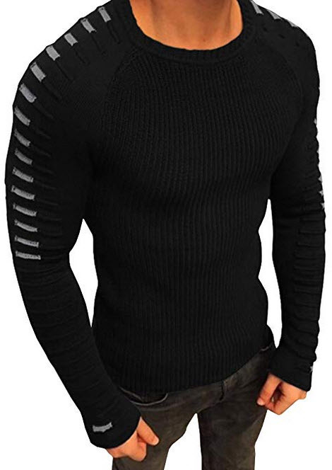 Taoliyuan Mens Ribbed Knit Striped Sweater Winter Casual Long Sleeve Slim Fit Lightweight Pleate ...