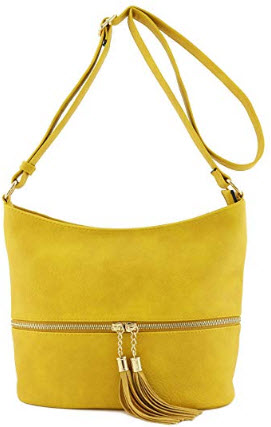 Tassel Zipper Bucket Crossbody Bag mustard deluxity