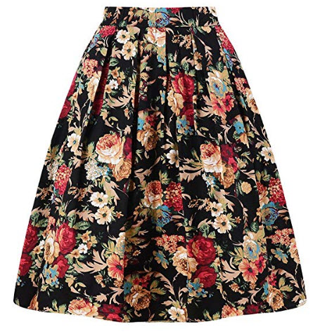 Taydey A-Line Pleated Vintage Skirts for Women, deep golden flower