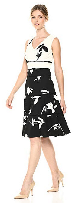 Taylor Dresses Womens Sleeveless Fit and Flare Scuba Crepe Dress ivory black