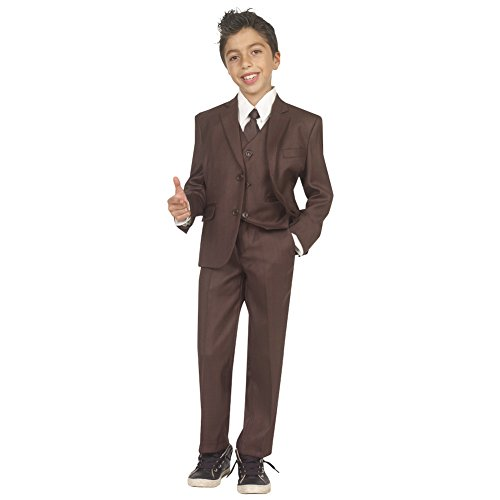 Tazio Boys 5 piece Boy Fit Suit with Vest, Shirt & Tie Brown Boys 14