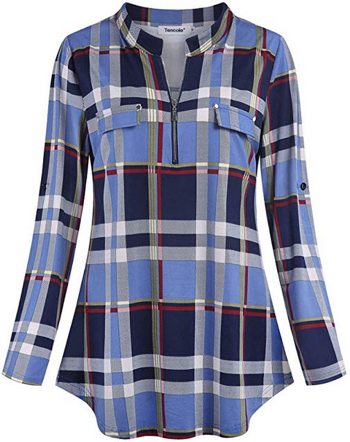 Tencole Women Rolled Sleeve Plaid Tunic Shirt Casual V Neck Zipper Front Blouse bluered