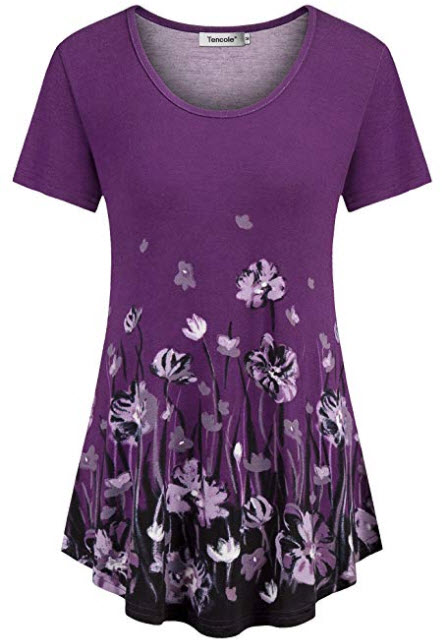 Tencole Womens Short Sleeve Shirts Ethnic Style Casual Summer Tunic Tops Pleated Blouse, purple