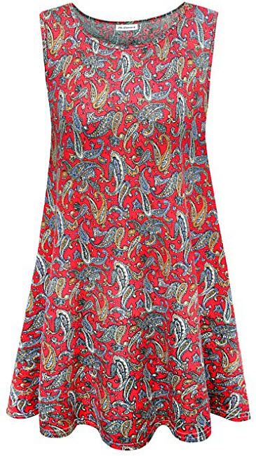 7th Element Plus Size Sleeveless Tunic Flare Flowy Tank Top for Women, floral print red