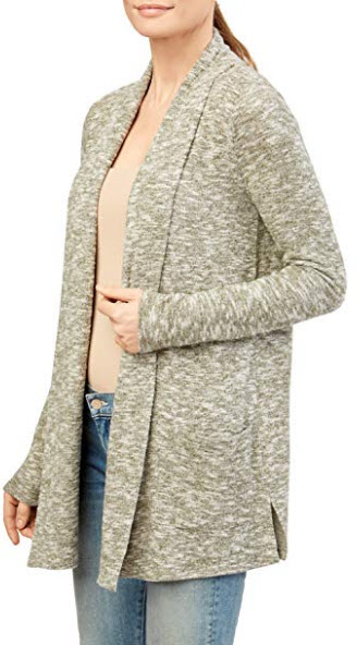 89th + Madison Women's Marled Knit Draped Open Front Pocket Cardigan, green white