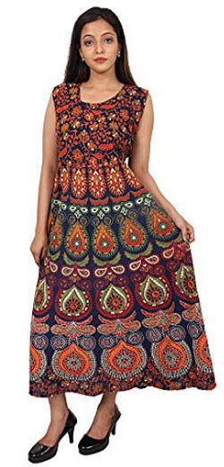 THE ART BOX Women's Mandala Dress for Women's V-Neck One Piece Dress Mandala, orange