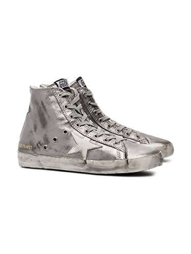 The Golden Goose Women's G32WS591B15 Silver Leather Hi Top Sneakers