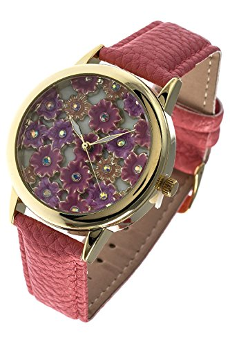 THE JEWEL RACK LARGE FLORAL EXTRUDED FAUX LEATHER WATCH