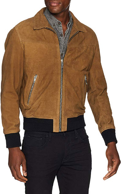 The Kooples Men's Men's Suede Leather Jacket with Colored Bands