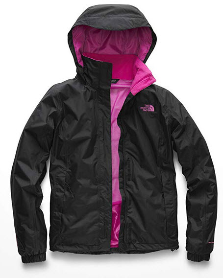 The North Face Women's Pink Ribbon Women's Resolve Jacket Black & Raspberry Rose
