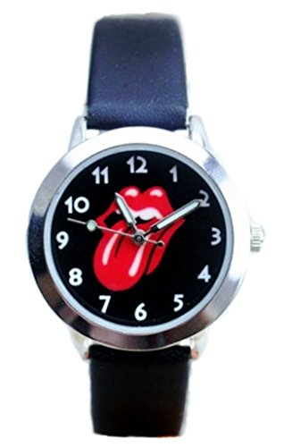 The Rolling Stones Tongue Logo Leather Band Wrist Watch by Main Street 24/7
