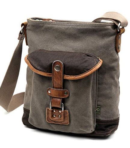 The Same Direction Tapa Two Tone Canvas Leather Trim Crossbody Shoulder Bag (Grey)