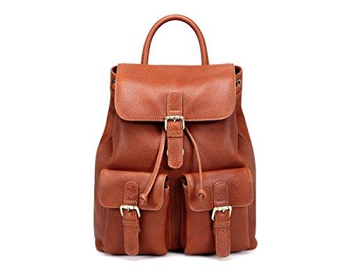 TheCultured Leather Front Pocket Backpack Shoulder Bag in Tan