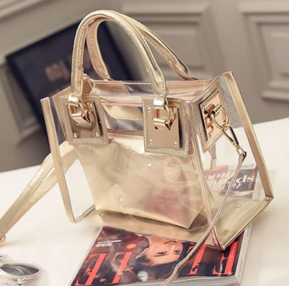 THEE Luxury Transparent Handbag Bag Clear Jelly Purse Women Clutch Tote Sweet, gold