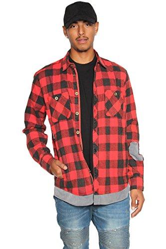 TheMogan Men's Layered Look Patch Long Sleeve Pocket Flannel Plaid Shirt Jacket