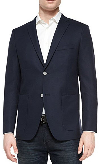 Theory Wellar Trim Fit Navy Blue Textured Sportcoat Blazer 38 Regular 38R.