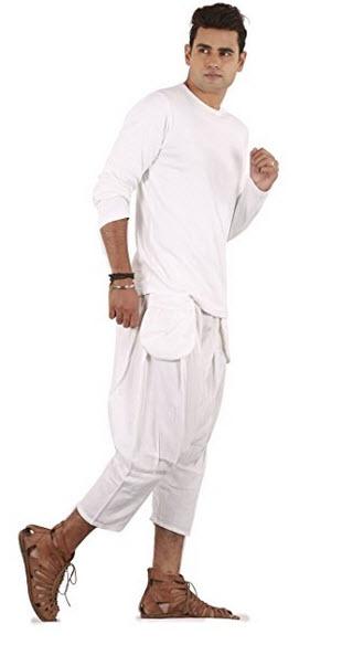 THS Mens Linen 3/4 Boho Hippie Drop Crotch Capri.