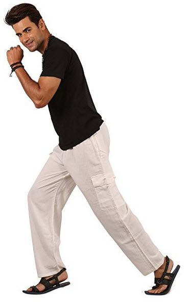 THS Mens Womens Boys Linen Pants Trousers with 4 Pockets – Pyjama Style .