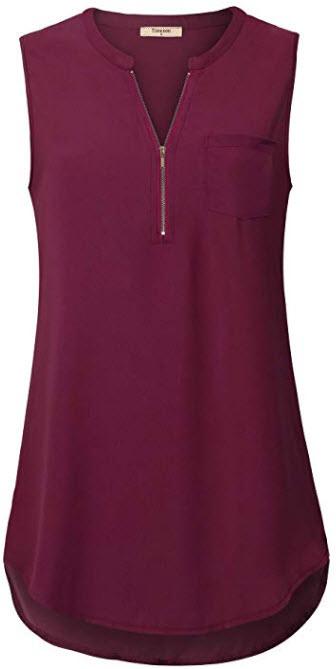 Timeson Women's Casual V Neck Sleeveless Tunics Blouses Chiffon Zipper Tank Top, dark red