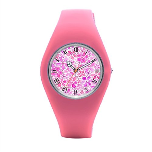 TimetoShine Womens Sports Watch Pink Floral Wrist Watch