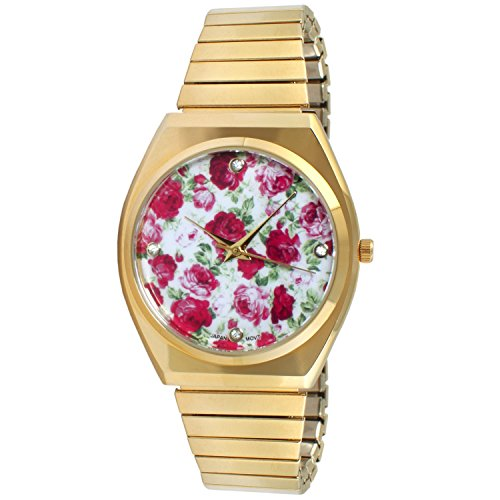 TKO All Gold Watch Expansion Band Stainless Steel Stretch Thin Case White Red Floral Dress Flex  ...