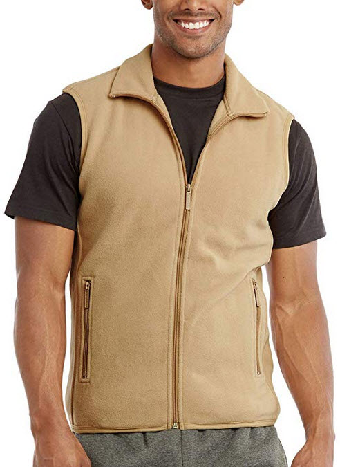 ToBeInStyle Men's Zip Up Sleeveless High Collar Polar Fleece Vest beige