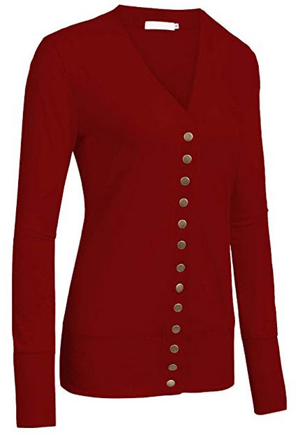 Tobrief Womens V Neck Button Down Long Sleeve Soft Knit Snap Cardigans wine red
