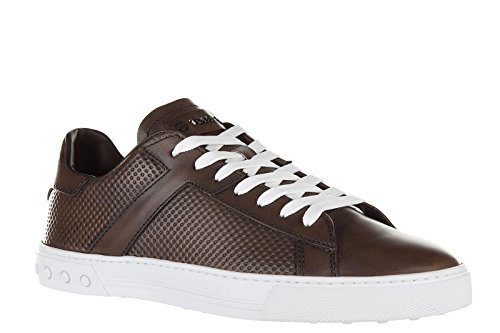 Tod's Men's Shoes Leather Trainers Sneakers etichetta cassetta Brown