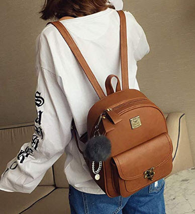 TOMAS Women's Retro Leather School Backpack Stylish Daypack Casual Bookbag Chic bag for girls