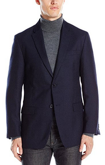 Tommy Hilfiger Men's Bray 2 Button Dotted Unconstructed Sport Coat navy