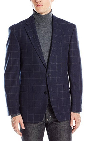 Tommy Hilfiger Men's Ethan Two Button Windowpane Sport Coat navy