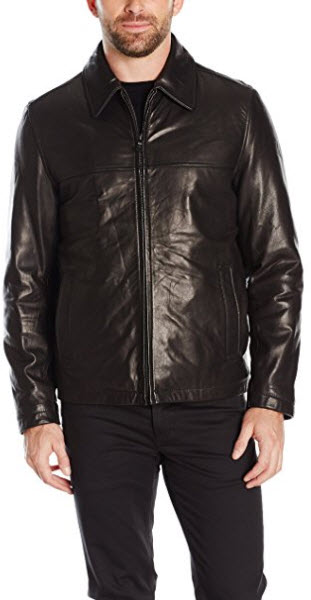 Tommy Hilfiger Men's Smooth Lamb Leather Laydown Collar James Dean Jacket.