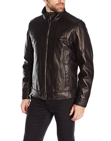 Tommy Hilfiger Men's Smooth Lamb Leather Stand Collar Jacket.