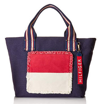 Tommy Hilfiger Womens Classic Tommy Fray Flag Canvas Tote navy